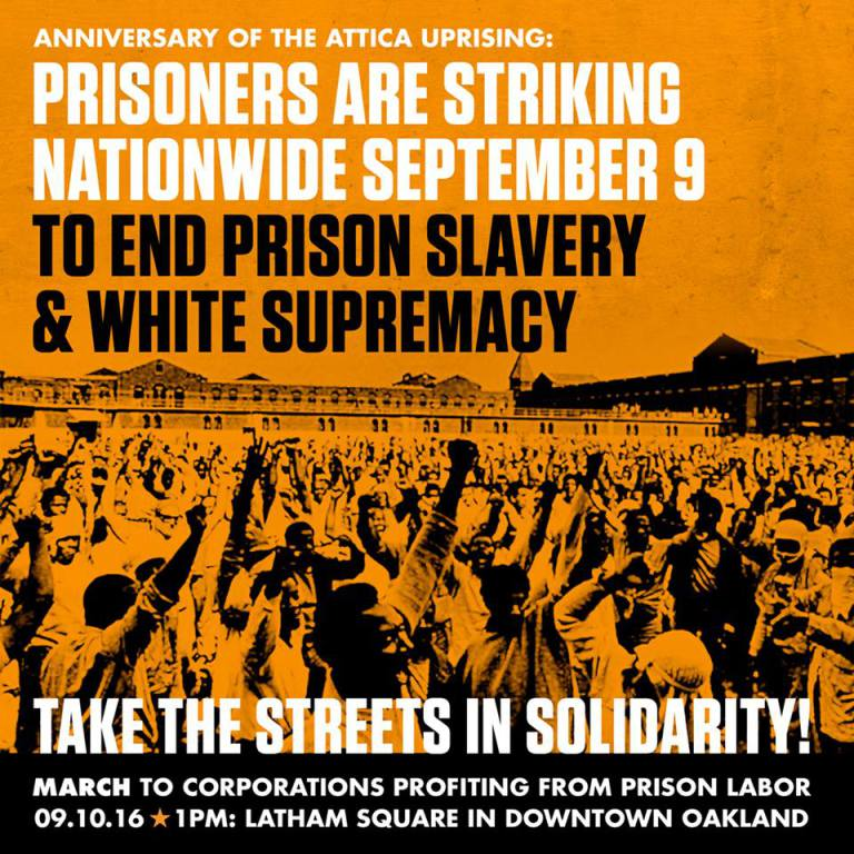 Prisoners are striking nationwide sept 9 Oakland poster by Blackout Collective (Oakland)