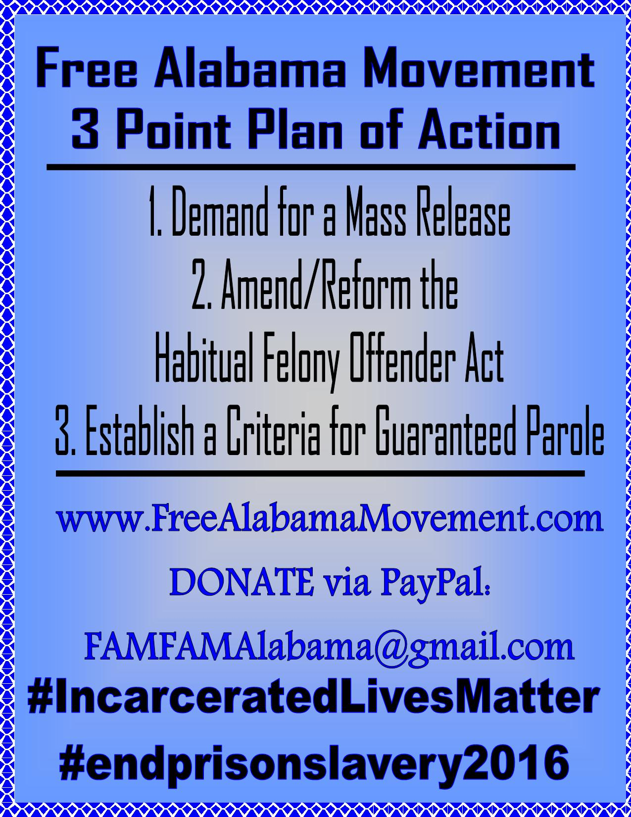 Announcement sign for Free Alabama Movement 3 point plan of action